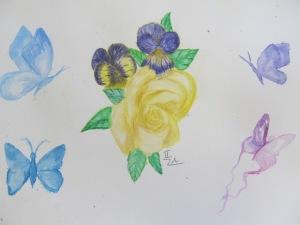 Petra Sloupová- Akvarel s motýly